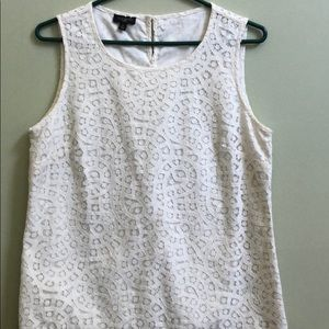 Talbots white lace detailed tank top